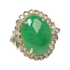 Gold Oval Jade and Diamond Ring