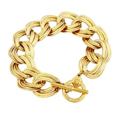 Gold Oval Link Chain Bracelet With Lion Clasp By Anne Klein, 1980s
