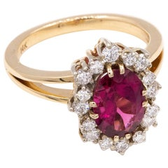 Gold Oval Rubellite and Diamond Ring