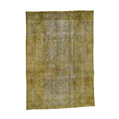 """Gold Overdyed Persian Tabriz Sheared Low Hand Knotted Oriental Rug, 8'0""""x11'0"""""""
