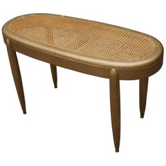 Gold Painted French Art Deco Hall Bench / Stool with Hand-Woven Rattan Webbing