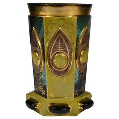Gold Painted Lithyaline Goblet, F. Egermann 19th Century Bohemian Glass