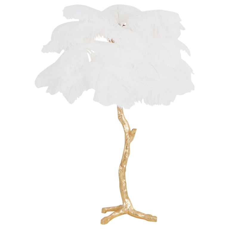 Gold Palm Tree Lamp With White Feathers For Sale At 1stdibs