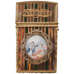Gold Panel and Vernis Martin Writing Case, French Craftsmanship, Louis XV