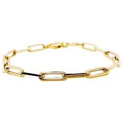 Gold Paperclip Chain Bracelet in 14 Karat Yellow Gold Long Link Bracelet