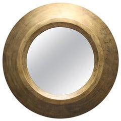 Gold Patina Round Mirror by Serge de Troyer, Belgium, 2011