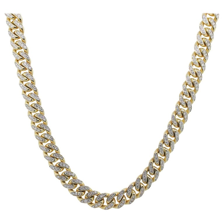 Cuban Link Chain For Sale >> Gold Pave Diamond Cuban Link Necklace