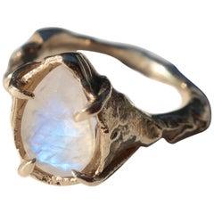 Gold Pear Rainbow Moonstone Ring