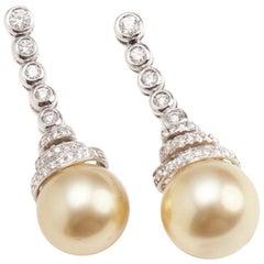Gold Perlen und Diamant Ohrgehänge Set in 18 Karat Weißgold