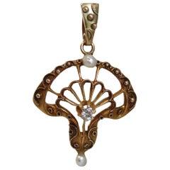 Gold Pearl and Diamond Pendant, circa 1890