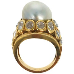 Gold Pearl and Diamond Ring