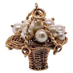 Gold Pearl Basket Charm