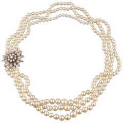 Gold Pearls and 1.80 Carats Diamonds French Vintage Necklace