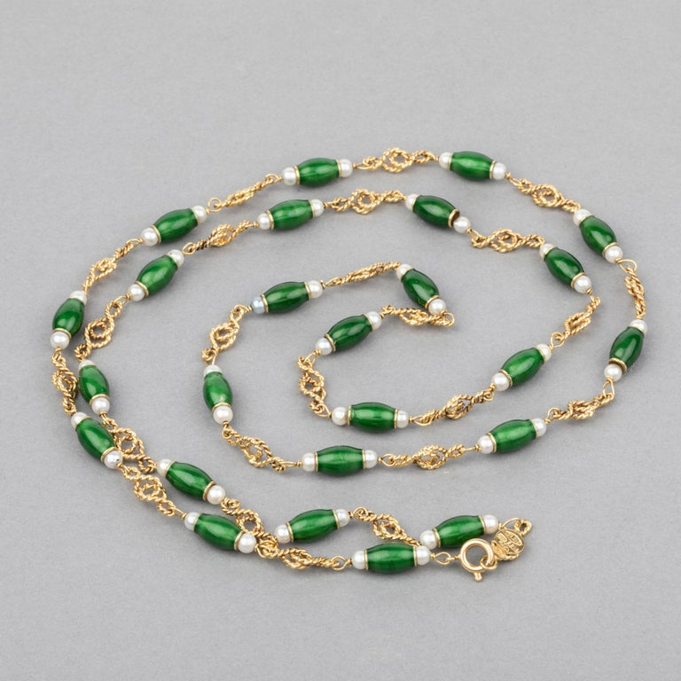 Gold Pearls and Enamel French Long Necklace  First i want to say that shipping is fully operating, i sent many packages to USA last weeks.  Very beautiful Necklace, made in France circa 1970.   The craftsmanship is quality, the design is elegant and