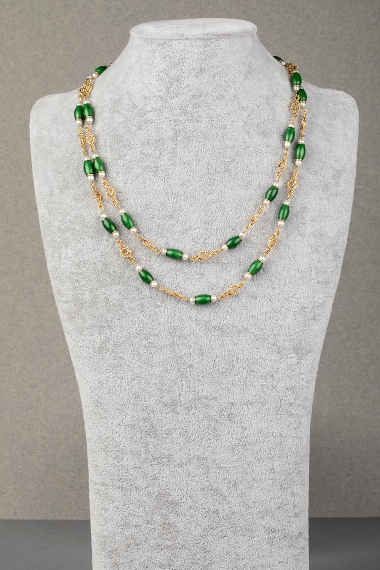 Gold Pearls and Enamel French Long Necklace In Good Condition For Sale In Saint-Ouen, FR