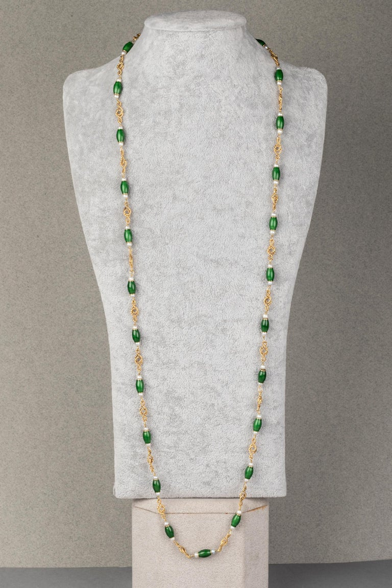 Women's Gold Pearls and Enamel French Long Necklace For Sale