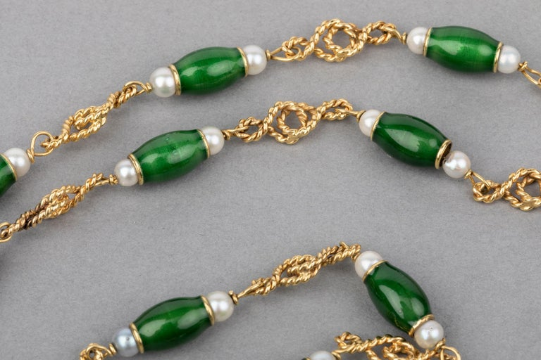 Gold Pearls and Enamel French Long Necklace For Sale 3