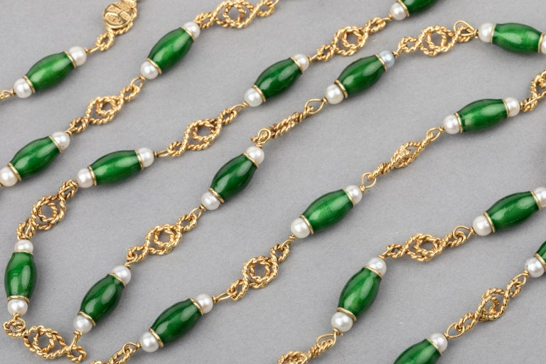 Gold Pearls and Enamel French Long Necklace For Sale 4
