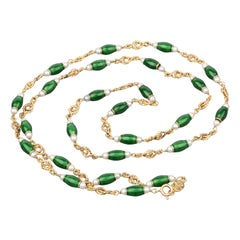 Gold Pearls and Enamel French Long Necklace