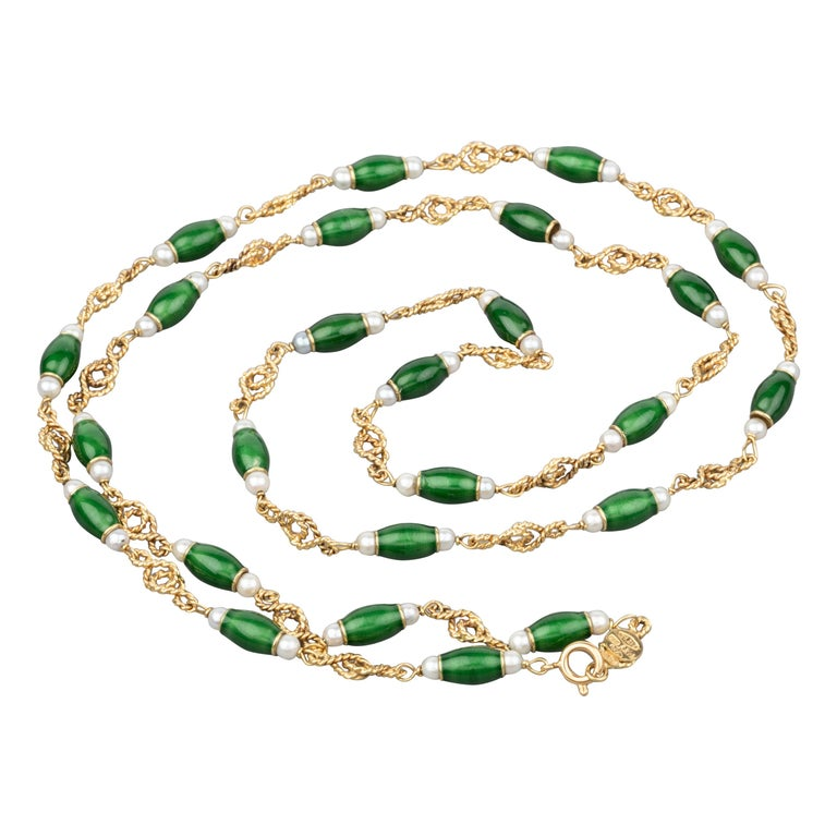 Gold Pearls and Enamel French Long Necklace For Sale