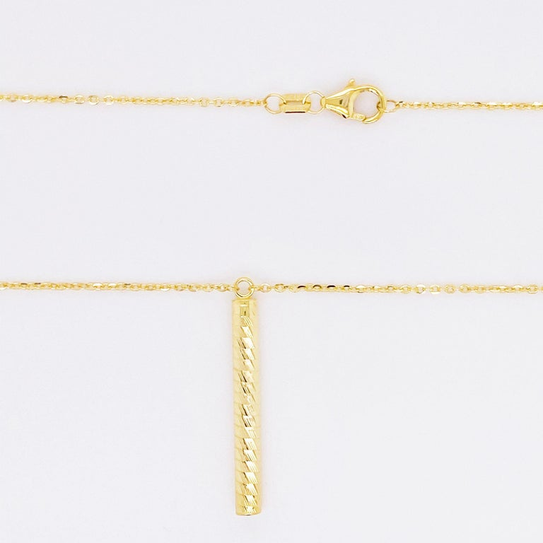 Women's Gold Pendant Necklace, 14 Karat Gold, Textured Cylinder Pendant For Sale