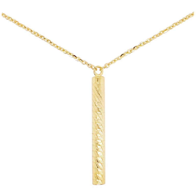 Gold Pendant Necklace, 14 Karat Gold, Textured Cylinder Pendant For Sale
