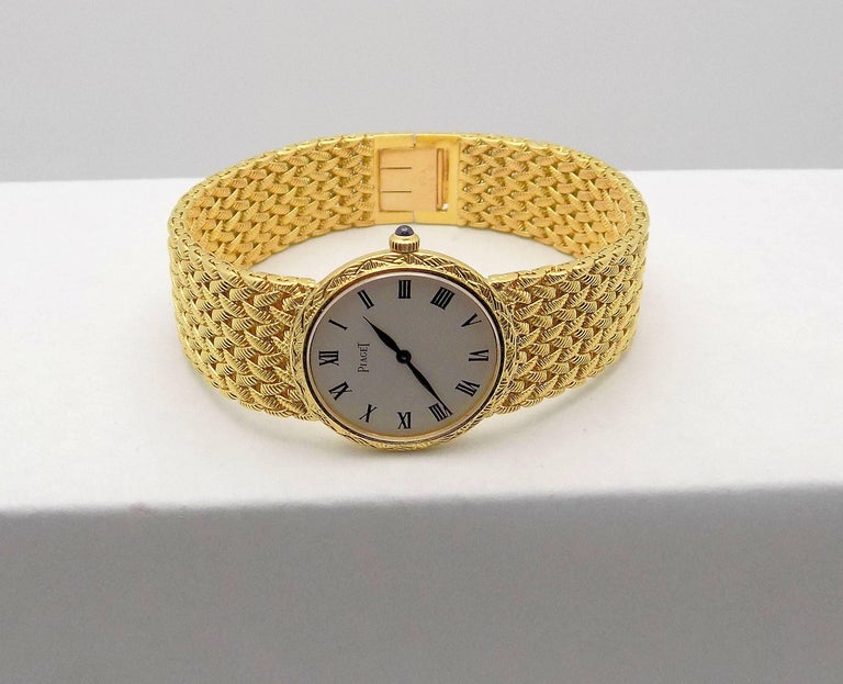 Gold Piaget Wrist Watch In Excellent Condition For Sale In Dallas, TX