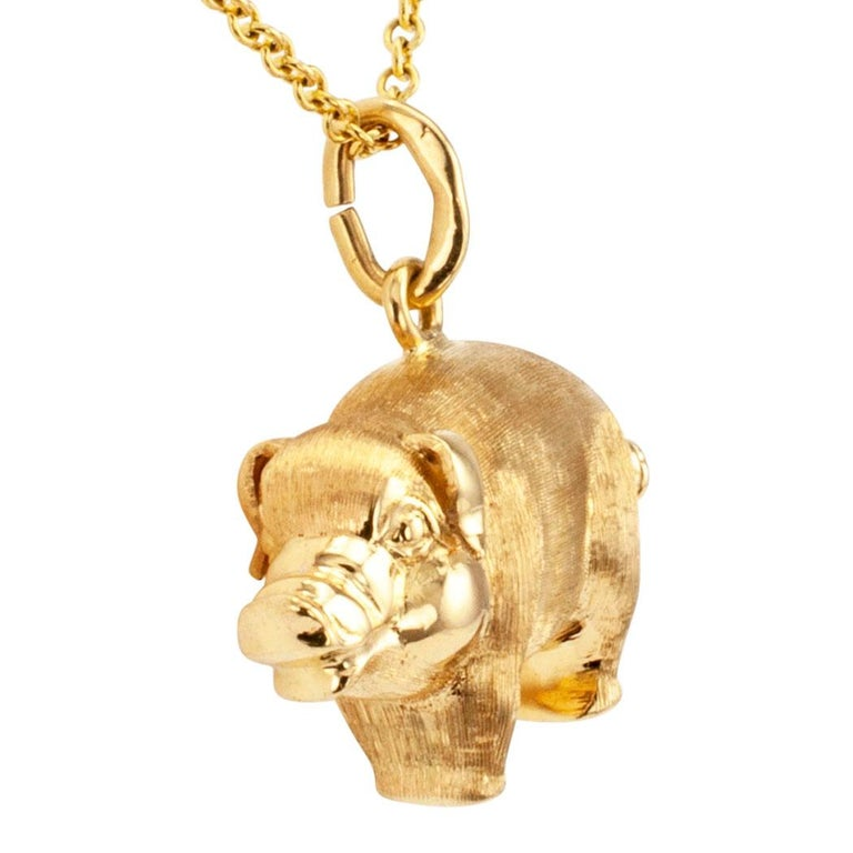Contemporary Gold Piglet Charm Pendant For Sale
