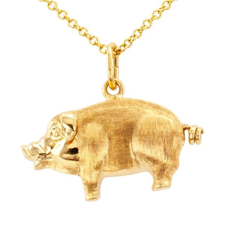 Gold Piglet Charm Pendant For Sale