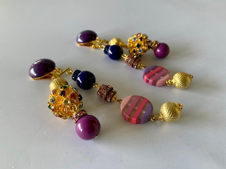 Contemporary Gold, Pink, and Purple French Designer Statement Earrings  For Sale