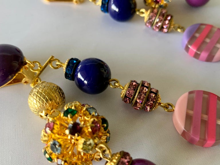 Gold, Pink, and Purple French Designer Statement Earrings  In New Condition For Sale In Palm Springs, CA