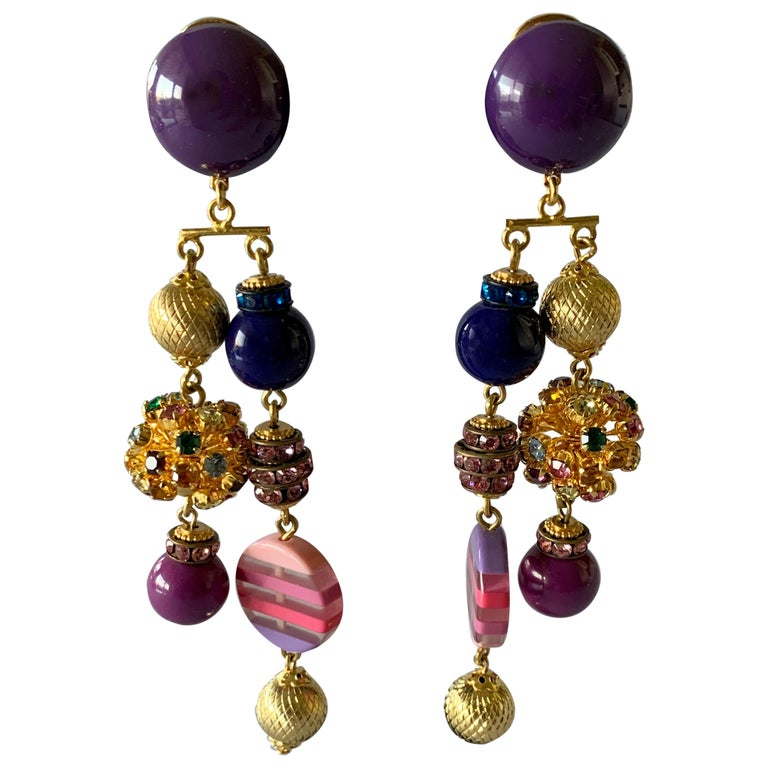 Gold, Pink, and Purple French Designer Statement Earrings  For Sale