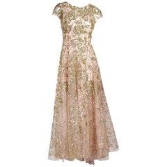 Gold & Pink Oscar de la Renta Sequined Tulle Gown