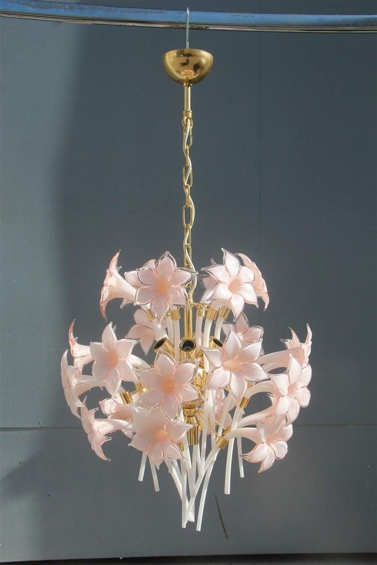 Gold pink round chandelier Murano Franco Luce design 1970s Italian design flowers Height only chandelier cm.55. 7 light bulbs E14 max 40 watt.