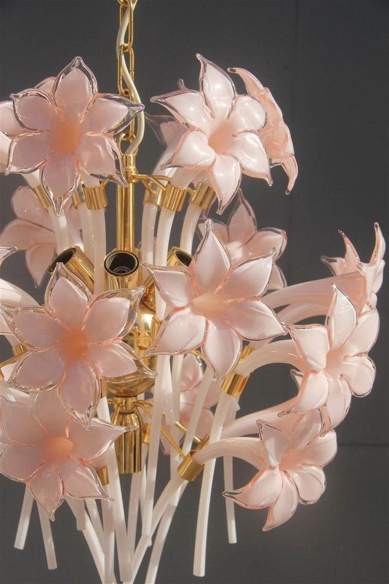Mid-Century Modern Gold Pink Round Chandelier Murano Franco Luce Design 1970s Italian Flowers For Sale