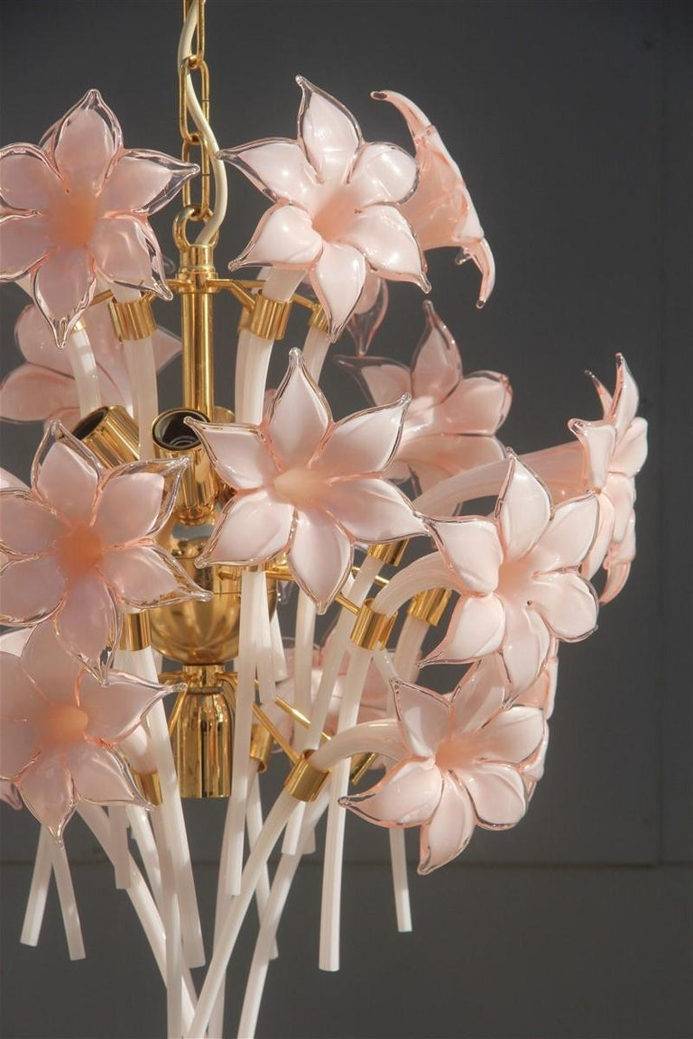 Gold Pink Round Chandelier Murano Franco Luce Design 1970s Italian Flowers For Sale 1