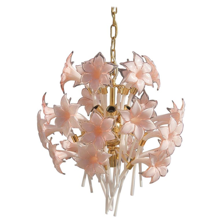 Gold Pink Round Chandelier Murano Franco Luce Design 1970s Italian Flowers For Sale