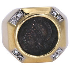 Gold Pinky Ring with Diamonds and Ancient Coin