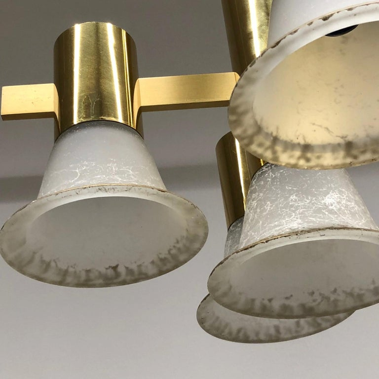 Gold Plate and Glass Gaetano Sciolari Style Vintage Italian Chandelier For Sale 5