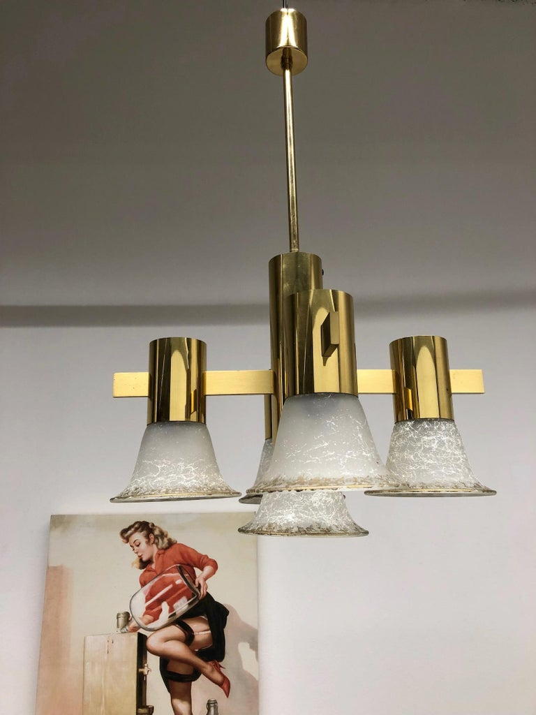 Gold Plate and Glass Gaetano Sciolari Style Vintage Italian Chandelier For Sale 6