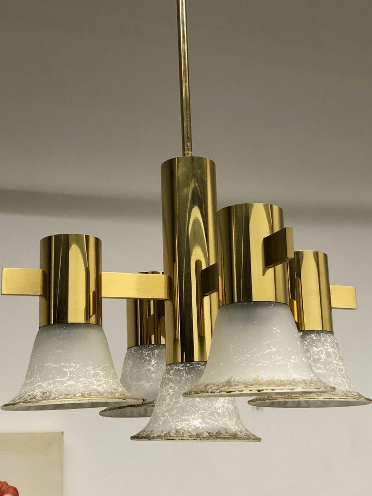 Mid-Century Modern Gold Plate and Glass Gaetano Sciolari Style Vintage Italian Chandelier For Sale