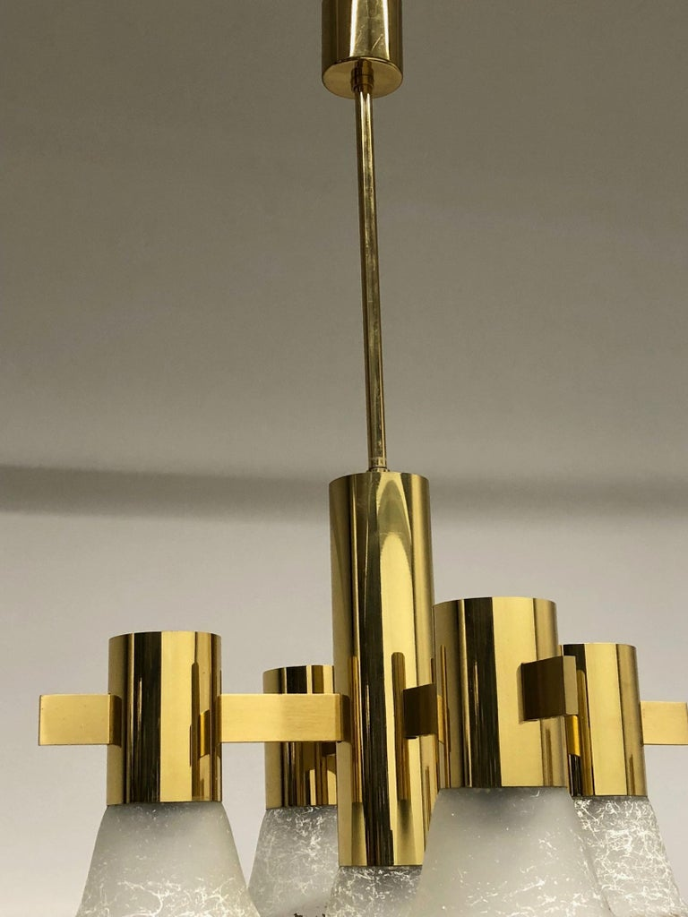 Gold Plate and Glass Gaetano Sciolari Style Vintage Italian Chandelier In Good Condition For Sale In Nürnberg, DE