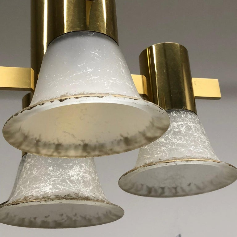 Gold Plate and Glass Gaetano Sciolari Style Vintage Italian Chandelier For Sale 4