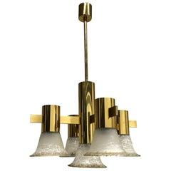 Gold Plate and Glass Gaetano Sciolari Style Vintage Italian Chandelier