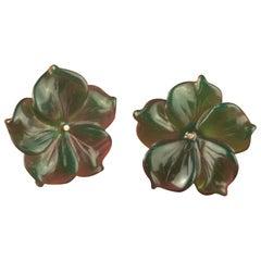Gold Plate Green Agate Flower Handmade Italian Girl Carved Stud Earrings