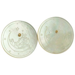 Gold Plate Mother of Pearl Coin Carved Flower Stud Handmade Chic Earrings