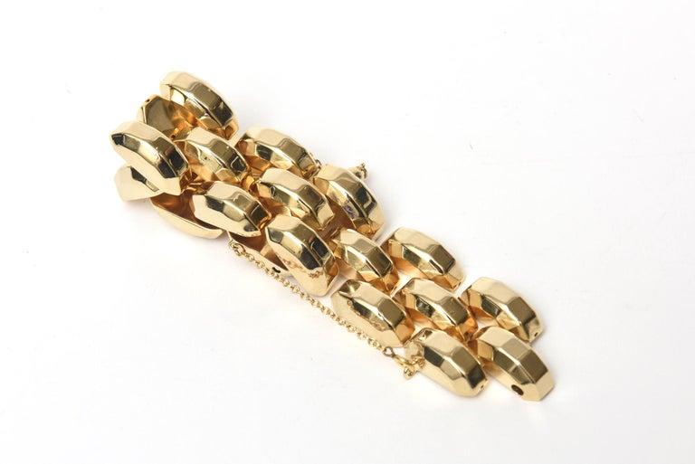 Retro  Gold Plate Over Sterling Silver Link Bracelet Signed For Sale