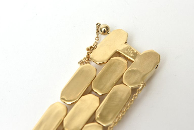 Gold Plate Over Sterling Silver Link Bracelet Signed In Good Condition For Sale In North Miami, FL