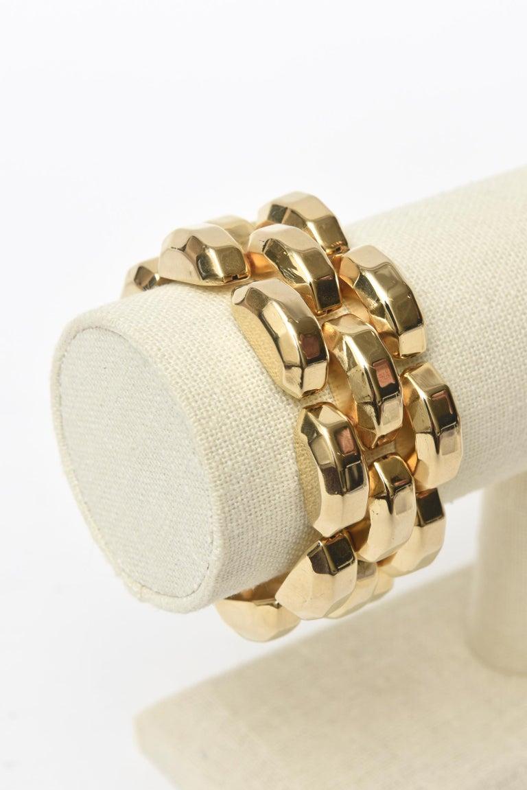 Women's  Gold Plate Over Sterling Silver Link Bracelet Signed For Sale