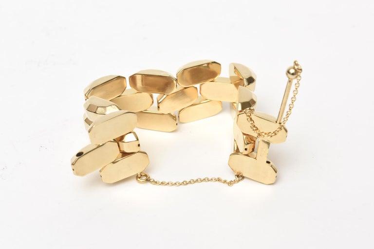 Gold Plate Over Sterling Silver Link Bracelet Signed For Sale 1